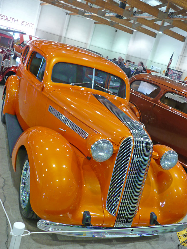 "Dan & Karen Fitch's 1936 Pontiac, slant back sedan, '61 389 Tri-Power engine, ""Slim Jim"" auto trans, 51K original miles."